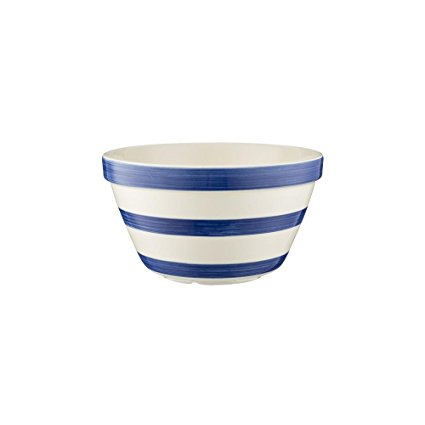 Mason Cash Stripes All Purpose Bowl; Hand Painted; Made From Chip Resistant Earthenware; S36, 6-1/4-Inches by 3-1/2-Inches; White with Navy Stripes