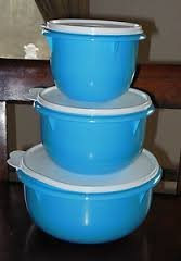 Tupperware 3pc Classic Mixing Bowl SET 4 +8+12 Cups NEW Rare Blue