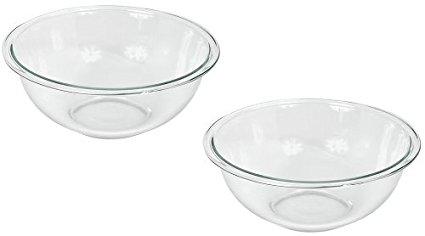 Pyrex Prepware 2-1/2-Quart Rimmed Mixing Bowl, Clear (Pack of 2)