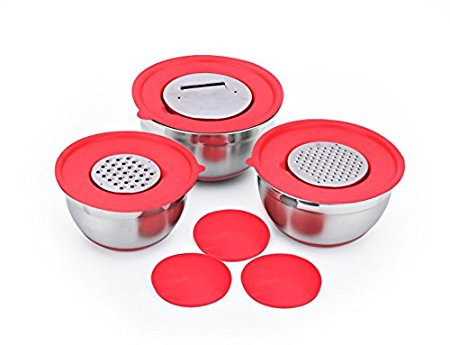 SH&G Stainless Steel Mixing Bowl Set with Non-Skid Bottom - Comes with lids with Grater (Fine and Course), Slicer, and Solid Inserts