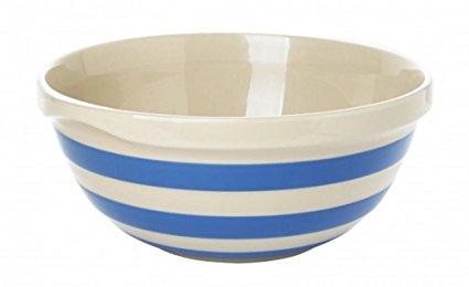 Cornishware Blue and White Stripe Stoneware Mixing Bowl 25cm by Cornishware