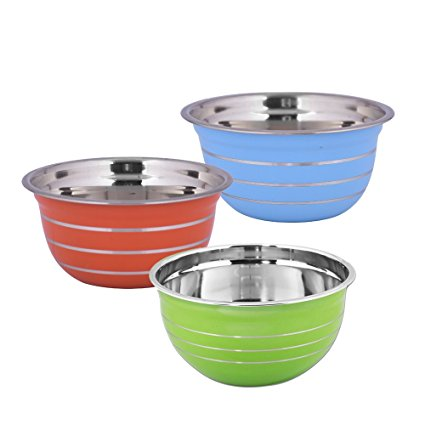 Kosma Set of 3 Premium Stainless Steel Deep Mixing Bowl   Salad Bowl in Coloured exterior and Mirror Finish Interior - 18 cm/1.5 Litre (Orange, Blue, Green)