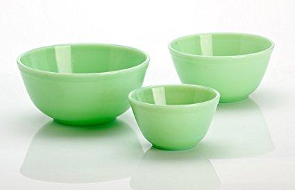 3 Pieces Glass Mixing Bowl Set - Jade (Green) Color - 20 oz, 40 oz, 65 oz