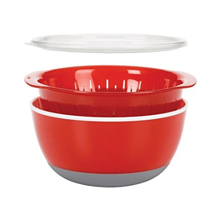OXO 3 Piece Bowl and Colander Set, Medium, Red