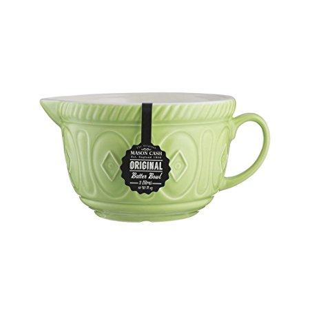 Mason Cash Color Mix Ceramic Batter Bowl; Large Enough to Whisk and Mix Ingredients; Pouring Lip and Handle; 8-Cups/Half Gallon; 10-1/4-Inches by 7-3/4-Inches by 5-Inches; Bright Green