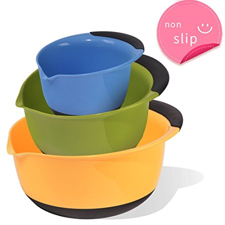 SZUAH Plastic Mixing Bowl Set of 3, Nesting Bowls with Spout, Non-Slip Handle & Bottom.