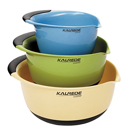 KALREDE Mixing Bowls Set of 3 Piece,Plastic Mixing Bowls,BPA free, Multi-Colour, Dishwasher safe,Baking Tool Accessories