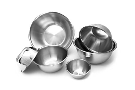 The Culinary Junction 9862 6-Piece Nesting Stainless Steel Polished Mirror Finish Mixing Bowls Set, .5, 1.25, 2.75, 4.25, 6.25 and 10.75 Quart