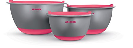 Art and Cook Premium Mixing Bowl Set with Matching Air Tight Lids, Coral