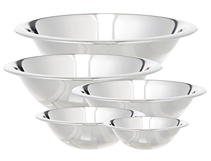 Cook Pro 717 5-Piece Stainless Steel Mixing Bowl Set