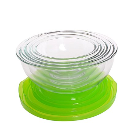 4-Piece Glass Mixing Bowl Set Round Nestable Prep Bowls For Cooking BPA-Free with Lids