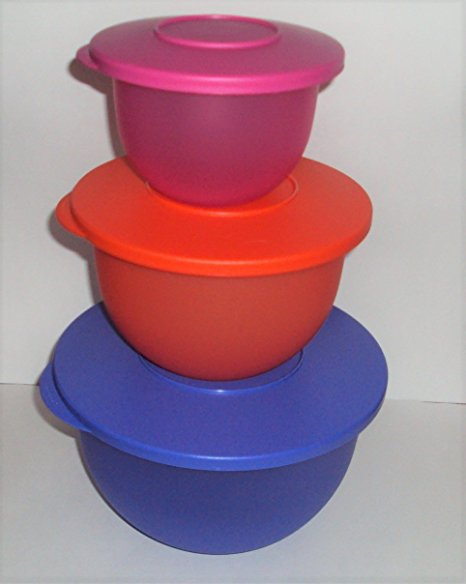Tupperware Classic Impressions 3 Nesting Mixing Bowls Salad Bowl Set Hot Colors