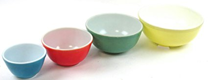 Vintage Pyrex Primary Colors Mixing Bowl Set - Blue, Red, Green, Yellow