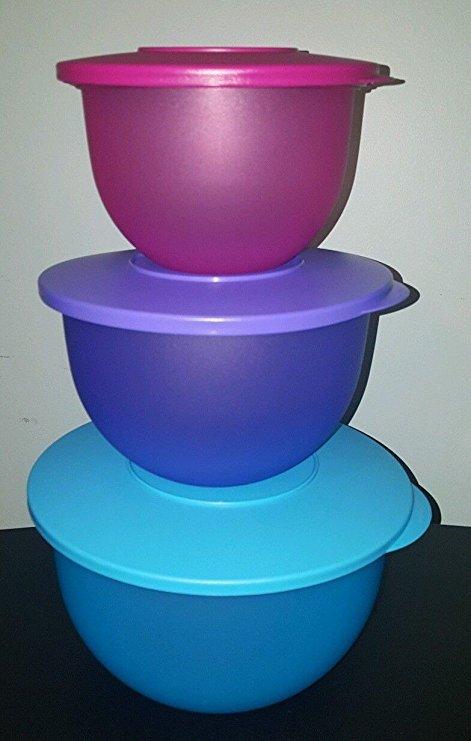 Tupperware Impressions Classic Bowl Set of 3 in Cool Aqua, Lupine and Radish