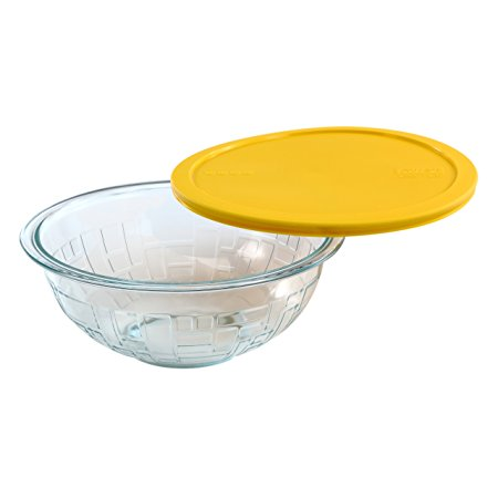 Pyrex Brick Textured Mixing Bowl with Yellow Lid, 2.5-Quart