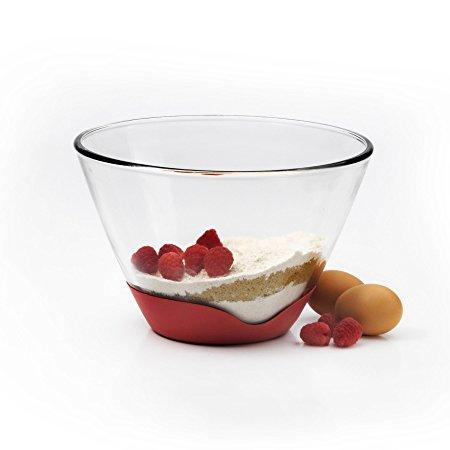 Anchor Hocking 1qt Splashproof Glass Bowl w/ Red No Slip Base