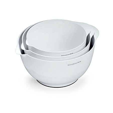 KitchenAid Classic Mixing Bowls, White, Set of 3