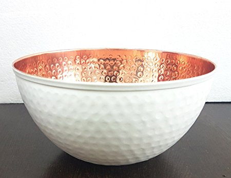 Copper and White Hammered Mixing Bowl, 100% Pure Heavy Gauge - Multipurpose Use of Antique Copper Serving Bowl For Candy, Salad, Egg Beating - Decorative Copper Bowl For Your Kitchen 7.6
