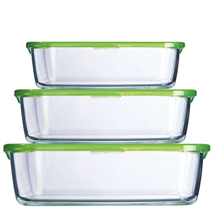 Trudeau Set of 3 Rectangular Containers with Green Lids - 4.75, 13, 26.75 ounce