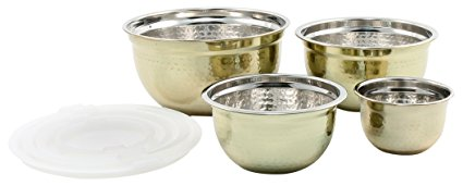 Cambridge Silversmiths Hammered Gold With Lid Bowl, 4 Piece Set