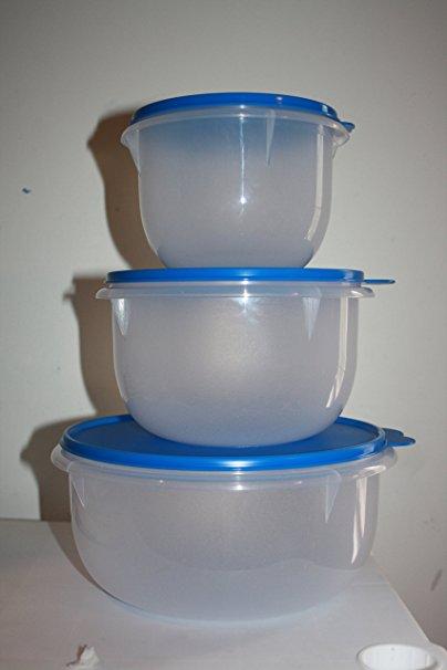 Tupperware 3 piece Classic Mixing Bowl Set Blue Seals
