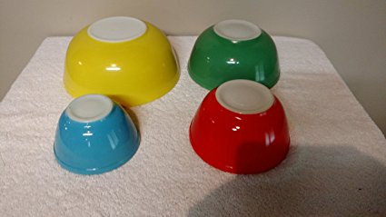 VINTAGE 1940'S PYREX PRIMARY COLORS MIXING BOWL SET - Blue 1 1/2 Pint, Red 1 1/2 Quart, Green 2 1/2 Quart & Yellow 4 Quart - SET OF 4