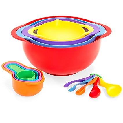 Best Choice Products 13-Piece BPA-Free Mixing Bowl Set w/Stackable Measuring Cups & Colander - Multicolor