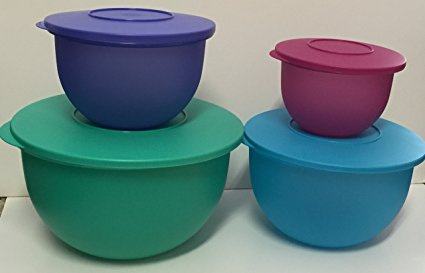 Tupperware Impressions Mixing Serving Storage Bowls 4pc Set 2016 Colors New