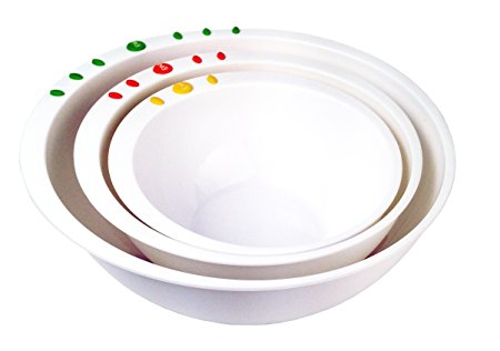 Curious Chef 3 Piece Mixing Bowl Set, Child, Green/White