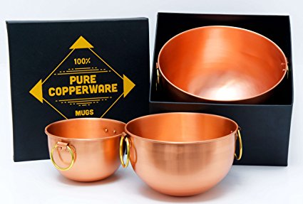 Mixing Bowl Set Pure Copper - Premium Quality Bowls Design Ayurveda Health Benefits Solid Handcrafted Handmade Finish Perfect for Gifts or Kitchen