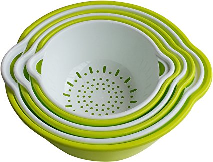 Voucchi 6 Piece Mixing Bowls and Nesting Colanders Set - Green & White