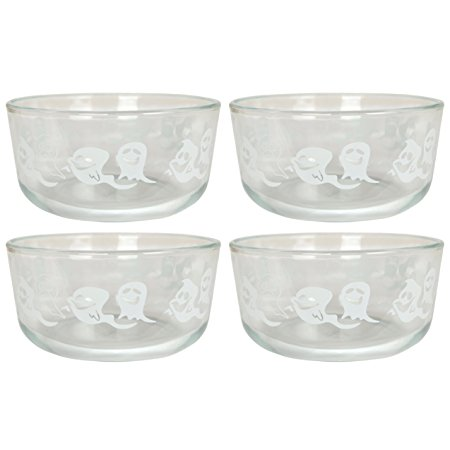 Pyrex 7201 4 Cup White Ghost Limited Edition Glass Bowl - 4 Pack