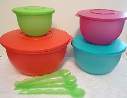 Impressions 4pc Mixing Salad Bowl Set Fruit Colors & Bonus Serving Spoons